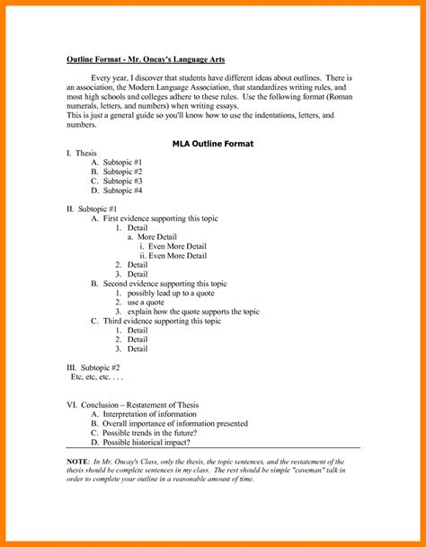 Layout Of Essay by 9 Outline For A Research Paper Mla Commerce Invoice