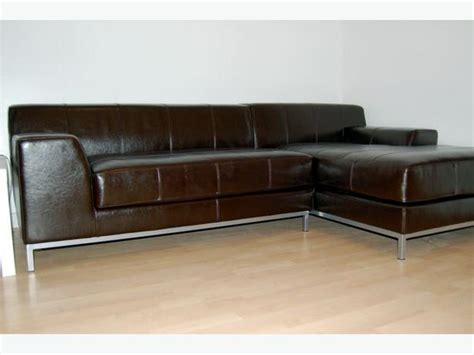 ikea kramfors brown leather sofa chaise lounge right