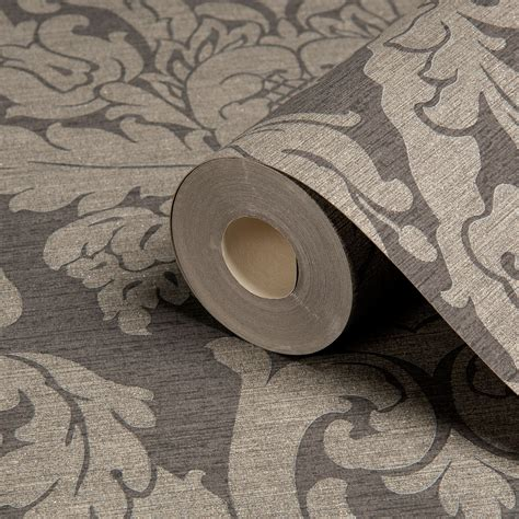 kensington wallpaper grey gold kensington charcoal damask metallic wallpaper