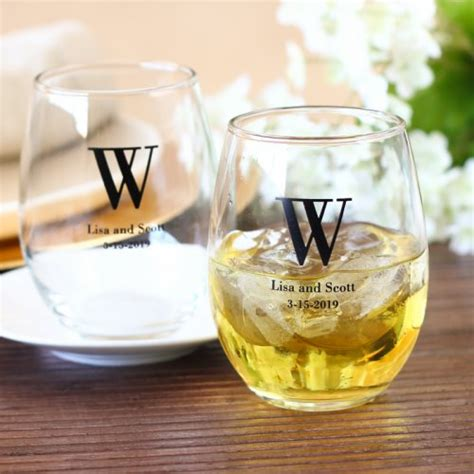 Wedding Favors Wine Glasses by Personalized Bridal Stemless Wine Glasses