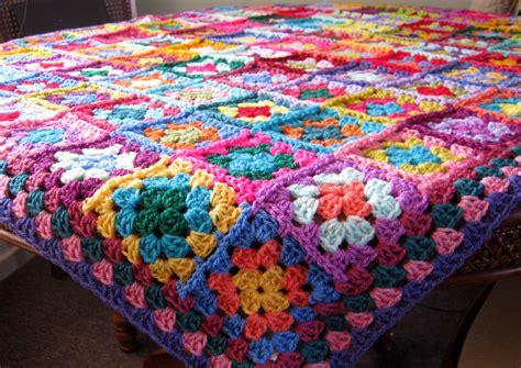 crochet blanket distinctive granny squares afghan bright vivid