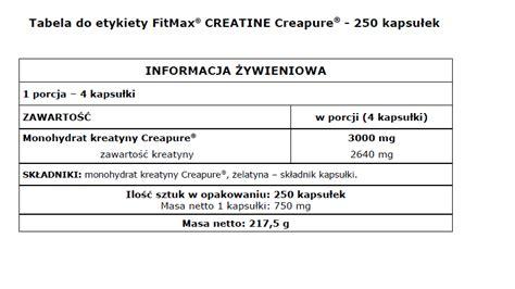 creatine w tabletkach kreatyna w kapsułkach fitmax 174 creatine creapure 174 250