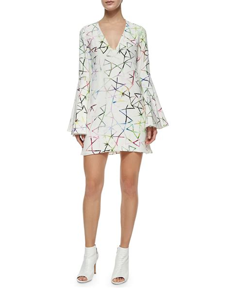 Printed Sleeve Shift Dress bell sleeve printed shift dress in beige lyst