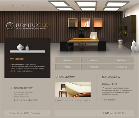 design html home page furniture website template 17490