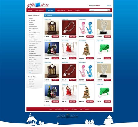 gifts shopping web template shopping cart website
