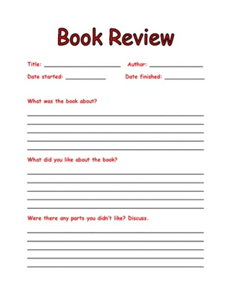 book review template teaching ideas