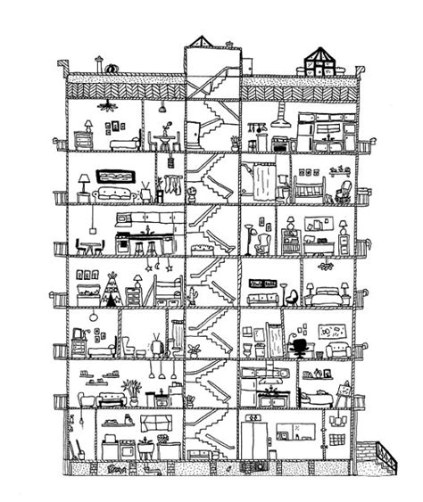 section apartments apartment cross section print