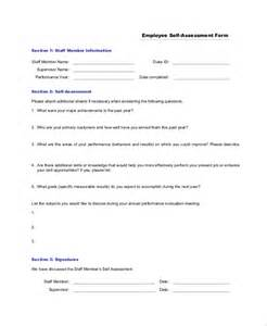 Self Assessment Templates Employees by Sle Self Assessment Form 8