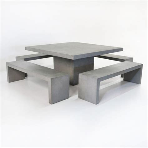 cement tables and benches square concrete table and 4 bench outdoor dining set