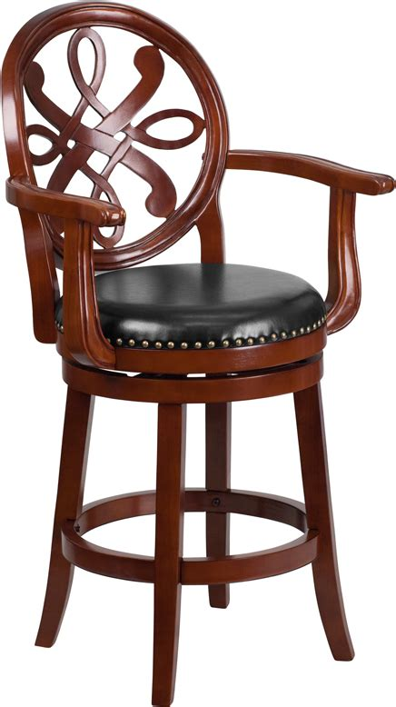 leather bar stools with arms 26 high cherry wood counter height stool with arms and