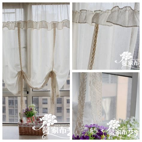 Linen American Rustic Ruffle Laciness Window Curtains Lace Linen Kitchen Curtains