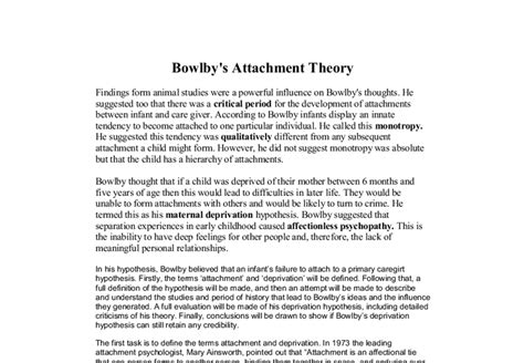 Deprivation Model Essay by Bowlby S Attachment Theory A Level Psychology Marked By Teachers