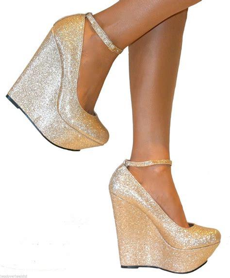womens platform high heels womens gold shimmer glitter platform wedge shoes ankle