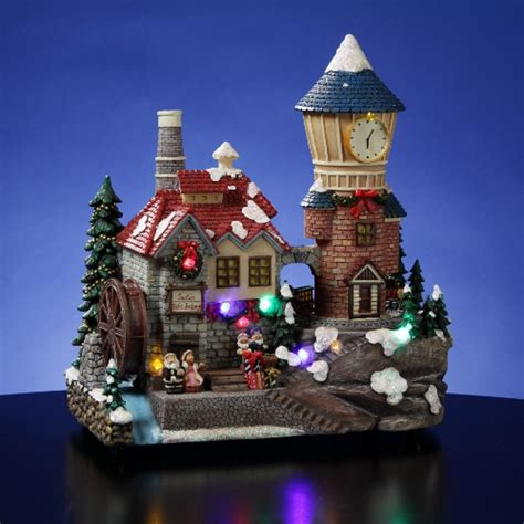 holiday memories lighted village and train music box santa s animated clocktower unique collectible boxes amazingmusicbox