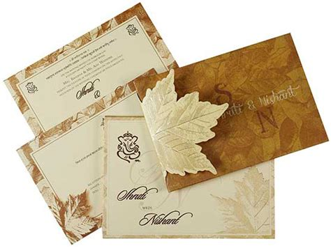 Indian Wedding Cards by Indian Wedding Card In Fawn With Leaf Design Wedding