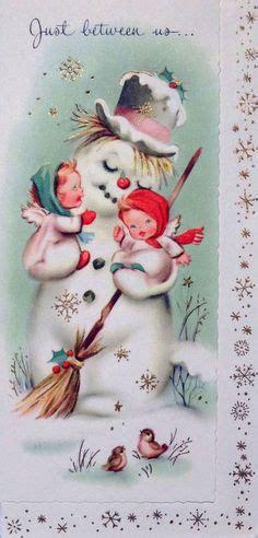 brims 1960s snowman angel vintage snowman card vintage snowman vintage and