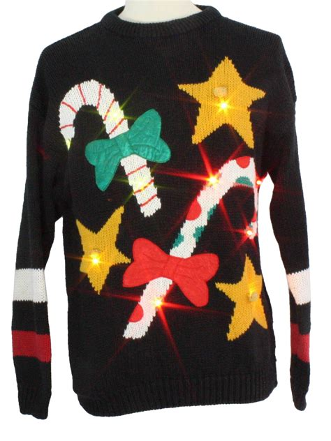 Light Up Ugly Christmas Sweater Csl Unisex Black Sweater Light Up