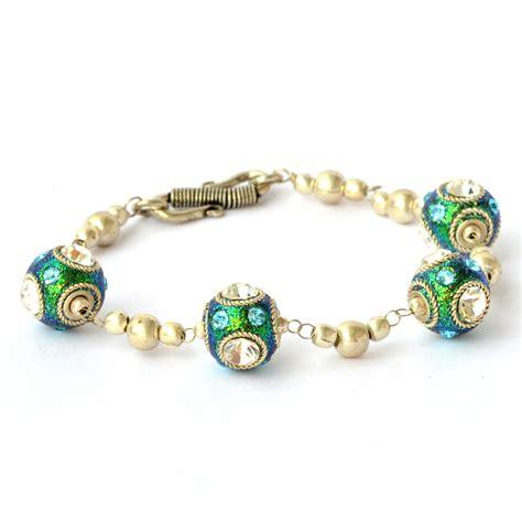 Handmade Metal Bracelets - handmade bracelet teal glitter with metal