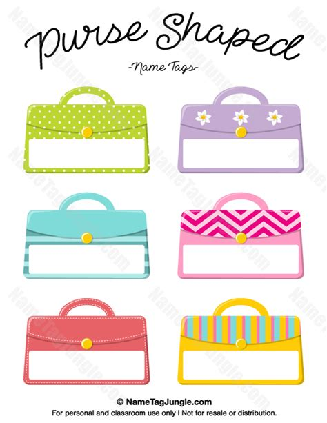 purse shaped card template free printable purse shaped name tags the template can
