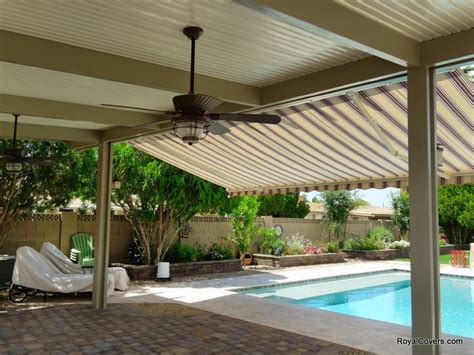 Solid Awnings freestanding alumawood patio cover with retractable awning