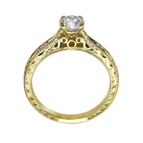 Engraved Solitaire Engagement Ring In 18k Yellow Gold by Solitaire Engraved Engagement Ring In 14k Yellow Gold
