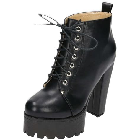 Lace Up Platform Boots koi footwear black chunky high heel platform lace up ankle