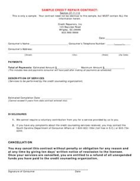 Credit Repair Contract Form Briefsjablonen Sjablonen And Brieven On