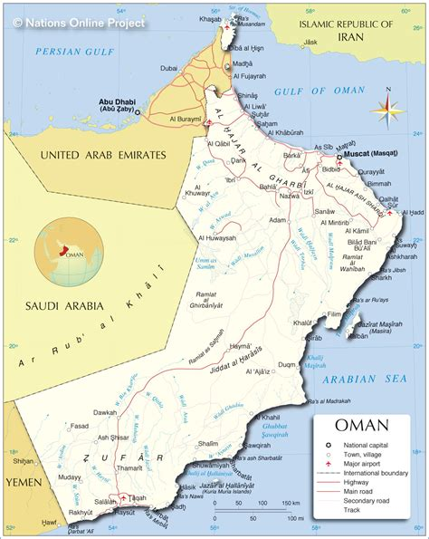 oman in the world map oman political map