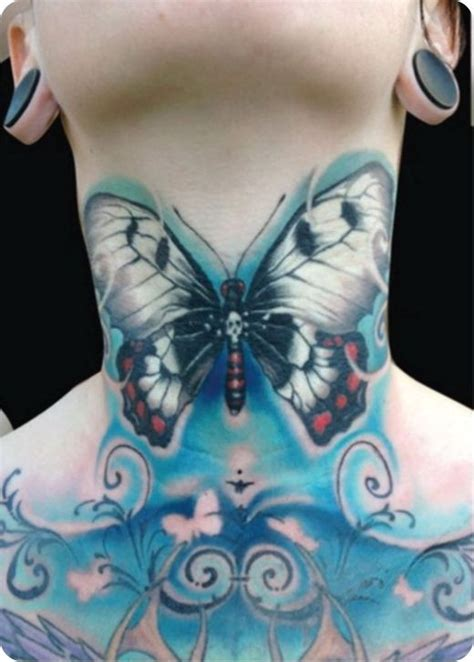 butterfly tattoo throat large blue butterfly tattoo on the neck tattooimages biz