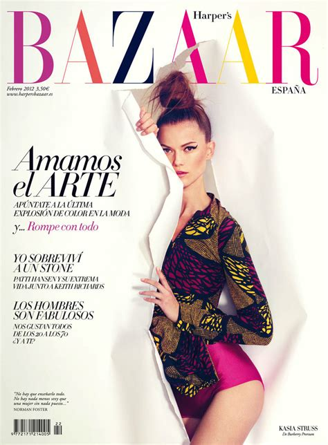 Is Cover Of Harpers Bazaar by S Bazaar Spain February 2012 Cover Kasia Struss