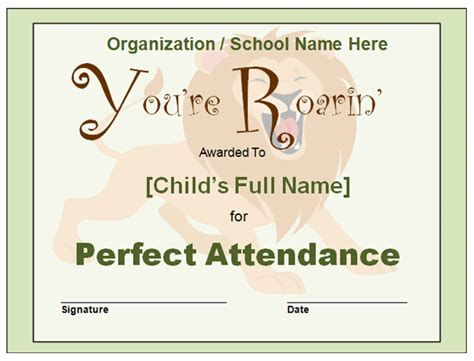 perfect attendance certificate new calendar template site