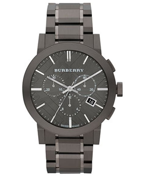 burberry s swiss chronograph gray ion plated