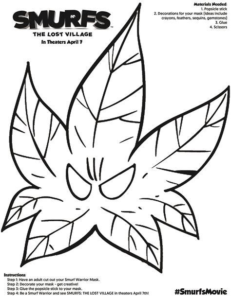 printable leaf mask free smurfs the lost village printable activities
