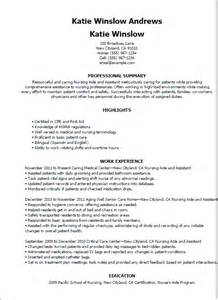 aide resume sle 28 sle resume for cna certified nursing assistant