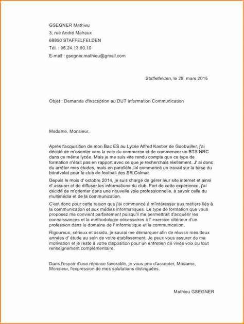 Exemple Lettre De Motivation Ecole Sup 5 lettre de motivation 233 cole de communication exemple