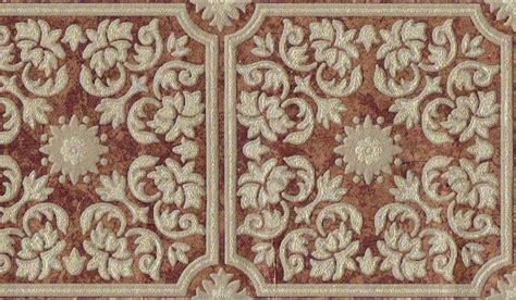 Victorian scroll leaf tiles patina copper brown gold embossed wallpaper border ebay