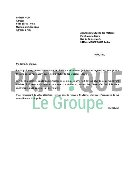 Lettre De R Siliation Jardin lettre de r 233 siliation mutuelle des motards pratique fr