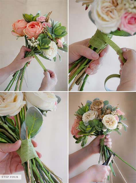 diy how to make a bouquet for a photoshoot green wedding shoes blog how to make a fake flower bridal bouquet