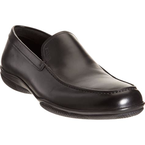 prada loafer prada apron toe loafer in black for lyst