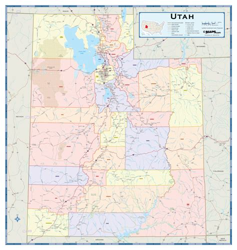 utah cities map utah counties wall map maps
