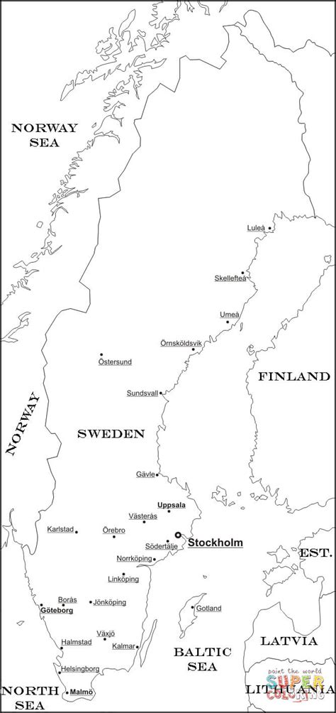 scandinavia map coloring page sweden map coloring page free printable coloring pages