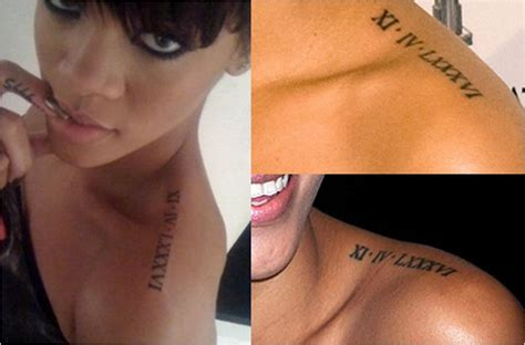 rihanna roman numeral tattoo discover the secrets 18 of rihanna s tattoos ritely