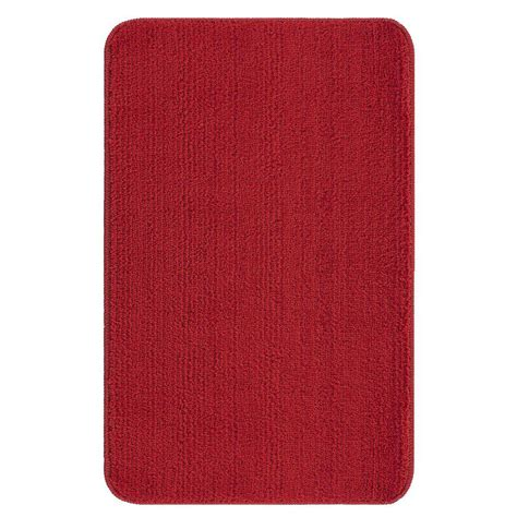 Ottomanson Solid Design Red 3 Ft 3 In X 5 Ft Non Slip 3 X 5 Bathroom Rugs