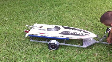 how to make a custom rc boat trailer 1 5 scale rc baja truck pulling 48in rc gas boat on a