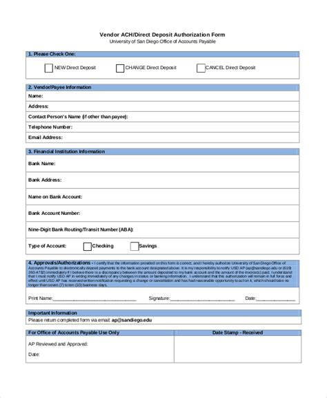direct deposit authorization form template 10 sle direct deposit authorization forms sle