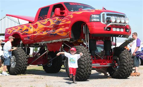 lifted cars red quot monster quot ford super duty truck not a f 150 a larger