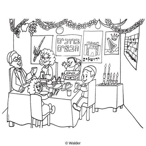 Family Sitting And Eating In The Sukkah Walder Education Sukkah Coloring Pages