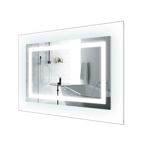 Bathroom Mirror Glass Led Lighted 42 Inch X 30 Inch Bathroom Mirror With Glass Frame Horizontal Or Vertical