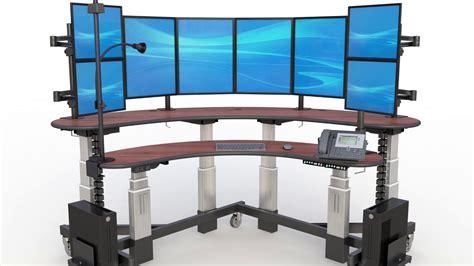 multi monitor computer desk two level multi monitor computer desk