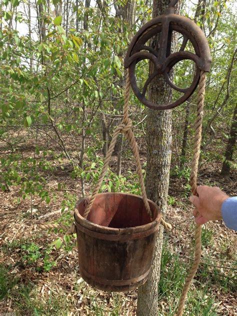 antique vintage water  pulley wood bucket flower